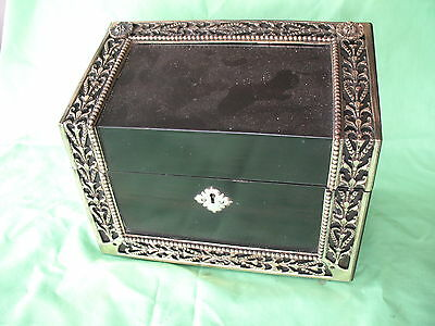 Old antique Victorian Howell James & Co London Brass &  Ebonised Stationary box