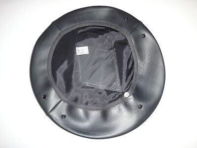 Black Color Leather MILITARY SERVICE CAP COVER Fits U.S Size 7-3/8 *Never Used*