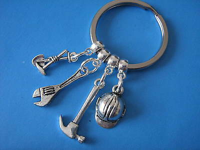 Builders Keyring Gift for a Builder Construction Worker Keychain Hammer Wrench