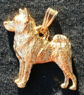Norwegian Elkhound 24K Gold Plated Pewter Pendant Jewelry USA Made