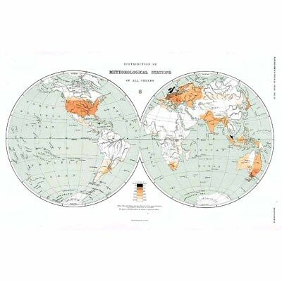 WORLD MAP Distribution of Meteorological Stations - Antique Map 1899