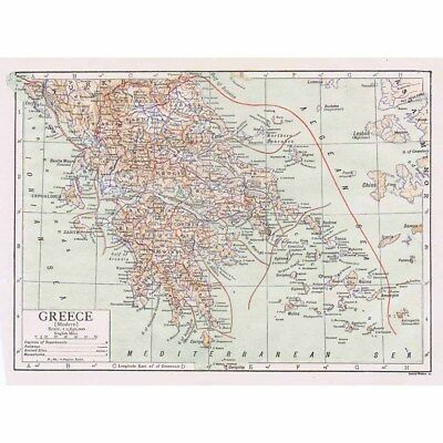 GREECE (Modern) Antique Map 1922 by Emery Walker