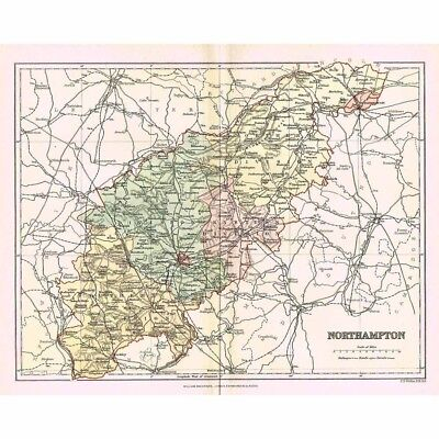 NORTHAMPTONSHIRE - Antique Map 1894 by William MacKenzie