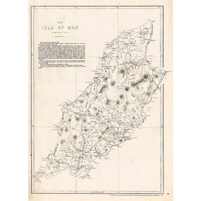 ISLE OF MAN - Antique Map c.1863 by Weller