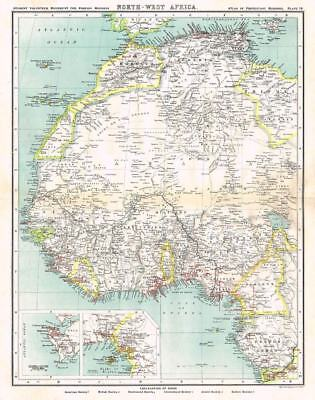 NORTH WEST AFRICA Bartholomew Antique Map 1903 - Atlas of Protestant Missions