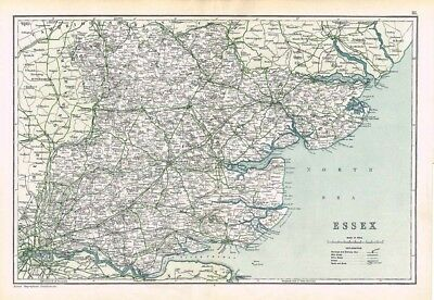 ESSEX Antique County Map c.1912 by GW Bacon