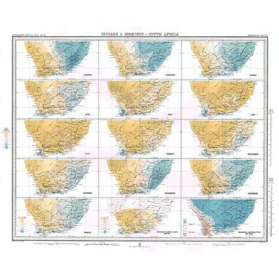 SOUTH AFRICA Isobars and Isohyets by Months of the Year -Antique Map 1899