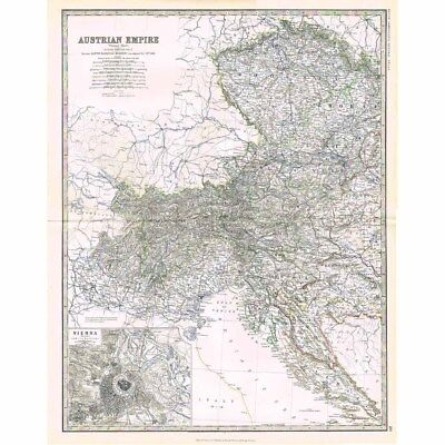 EMPIRE OF AUSTRIA (West) Inset Vienna - Large Antique Map 1878 by Keith Johnston
