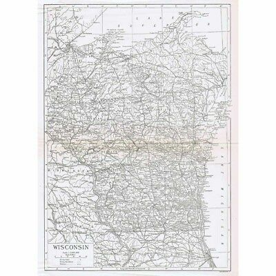 WISCONSIN State Map Showing Counties - Vintage Map 1926 by Carl Hentschel