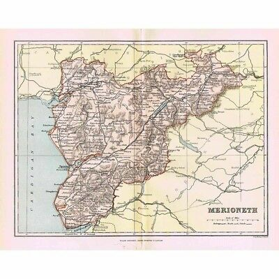 MERIONETHSHIRE - Antique Map 1894 by William MacKenzie