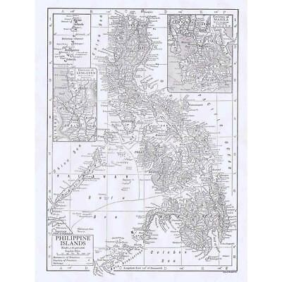 PHILIPPINE ISLANDS w/insets of Lingayen and Manila - Antique Map 1910