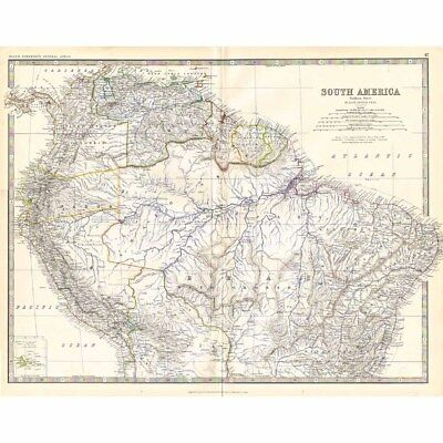 SOUTH AMERICA (North Section) - Large Antique Map 1878 by Keith Johnston