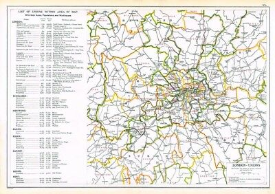 LONDON Unions by Population/Workhouses - Antique Map c.1912 by GW Bacon