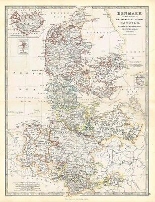 DENMARK & Duchies of Schleswig, Holstein - Antique Map 1868 by Keith Johnston