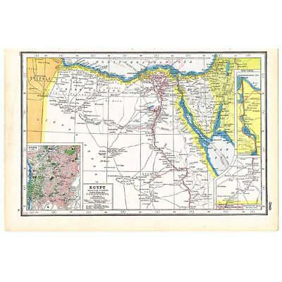 Antique Map 1920 - Egypt inc Town Plan of Cairo and Suez Canal-Harmsworth Atlas