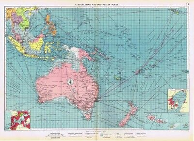 AUSTRALASIAN and POLYNESIAN PORTS inc Shipping Routes - Vintage Marine Map 1952