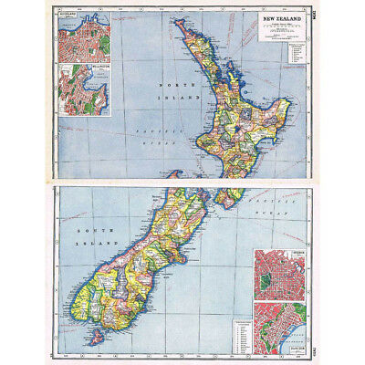 Antique Map 1920 - NEW ZEALAND Insets of Dunedin, Auckland - Harmsworth Atlas