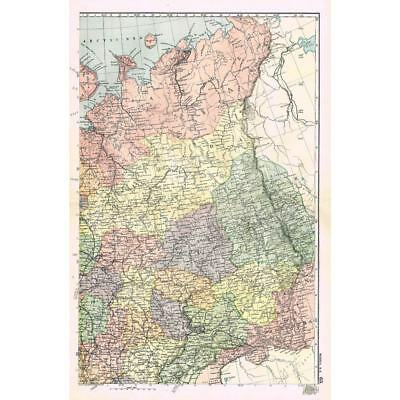 RUSSIA (NE) Vologda, Viatka, Kostroma, Kaan, Archangel-Antique Map 1894 by Bacon