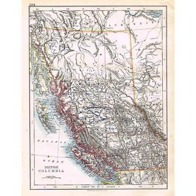 CANADA British Columbia - Antique Map 1899 by W & AK Johnston
