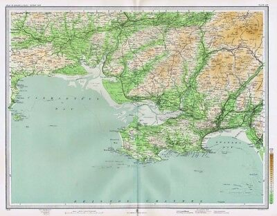 SWANSEA and CARMARTHEN Antique Map 1903 by Bartholomew; Llanelly, Neath, Tenby
