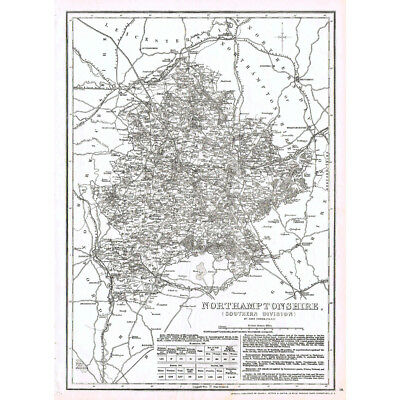 NORTHAMPTONSHIRE South Part - Antique County Map c.1863 by Dower
