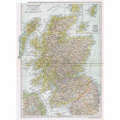 SCOTLAND w/insets of Orkney and Shetland - Antique Map 1926