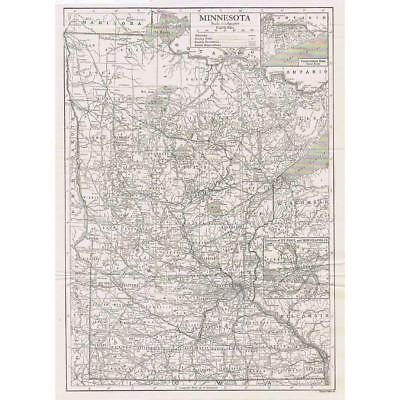 MINNESOTA State Map w/inset of St Paul and Minneapolis - Antique Map 1910