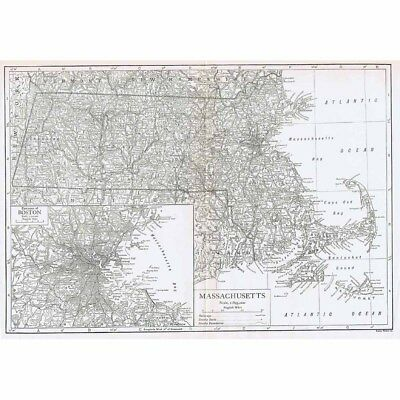 MASSACHUSETTS w/inset of Environs of Boston - Vintage Map 1926 by Emery Walker