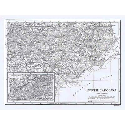 NORTH CAROLINA State Map Showing Counties - Antique Map 1910 by Emery Walker