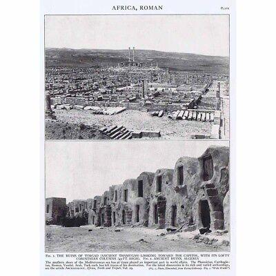 AFRICA Roman Ruins at Timgad and in Algeria - Vintage Photgraphic Print 1926