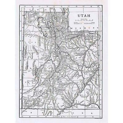 UTAH State Map - Antique Map 1910 by Emery Walker