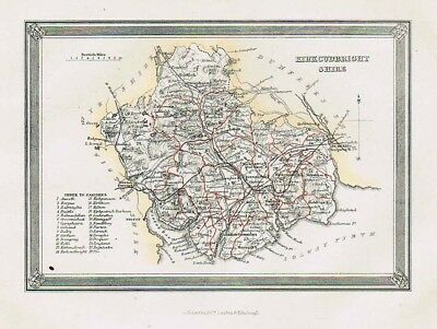 KIRCUDBRIGHTSHIRE Showing Parishes - Antique Coloured Map c1875 by Fullarton