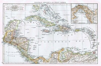 CENTRAL AMERICA and WEST INDIES - Antique Map 1899 From The Times Atlas