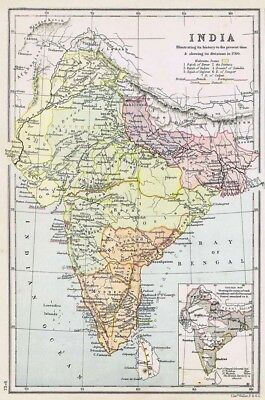 INDIA Showing History & Divisions in 1760 - Antique Map c1870 by Weller