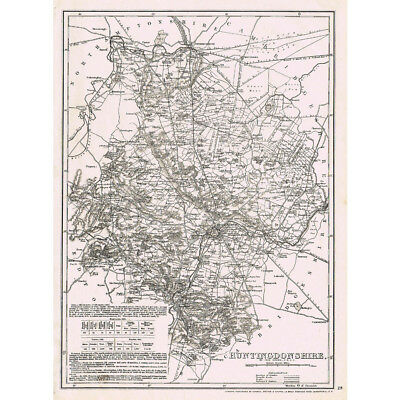 HUNTINGDONSHIRE - Antique County Map c.1863 by Dower