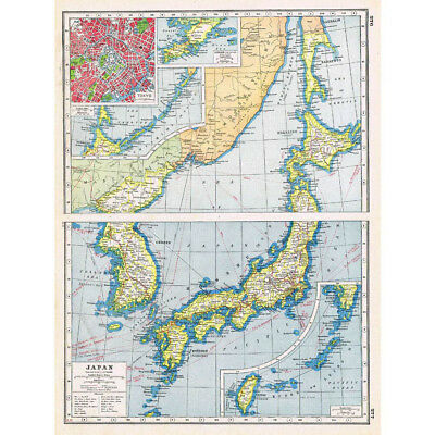 Antique Map 1920 - JAPAN insets of Tokyo and Lushun - Harmsworth Atlas
