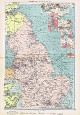 EASTERN PORTS OF GREAT BRITAIN inc Trade Routes - Large Vintage Marine Map 1952