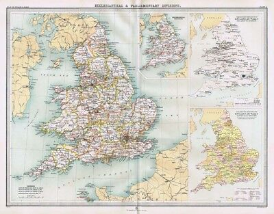 ENGLAND and WALES Ecclesiastical & Parliamentry Antique Map 1903 by Bartholomew