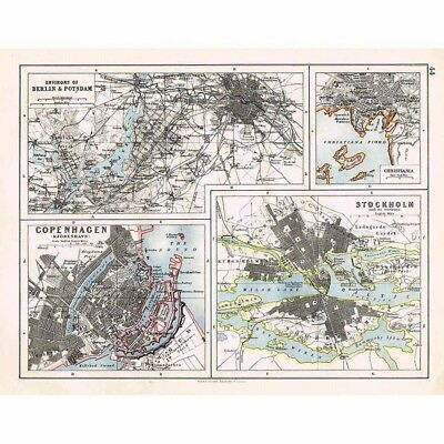 Street Plans of Berlin, Potsdam, Copenhagen, Stockholm - Antique Map 1899