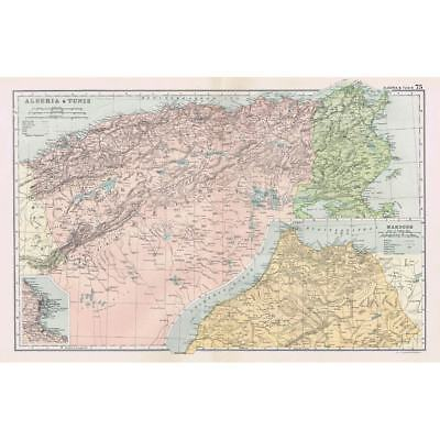 AFRICA Algeria, Tunisia, and Morocco - Antique Map 1894 by Bacon