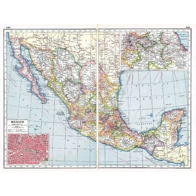 Antique Map 1920 - MEXICO Inset of Mexico City - Harmsworth Atlas