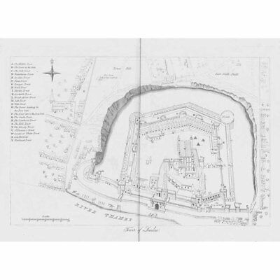 LONDON Plan of the Tower of London Antique print c1840