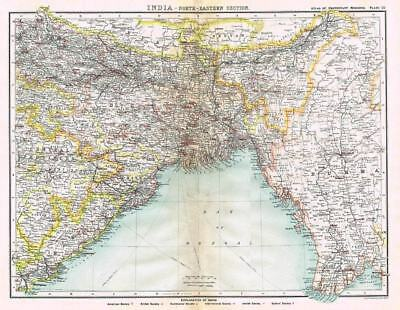 INDIA (NORTH EAST) Bartholomew Antique Map 1903 - Atlas of Protestant Missions