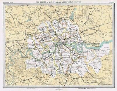 COUNTY of LONDON Showing Metropolitan Boroughs Antique Map 1903 by Bartholomew