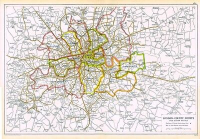 LONDON County Courts & Bus & Tram Routes Antique Map c.1912 by GW Bacon