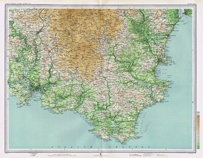DARTMOOR and TORQUAY Antique Map 1903 by Bartholomew; Teignmouth, Plymouth