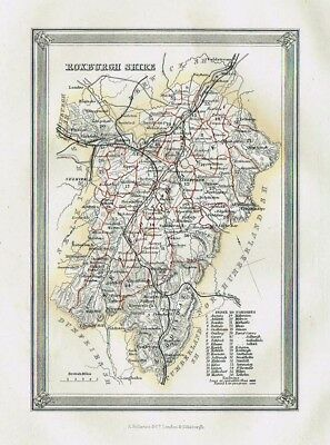 ROXBURGHSHIRE Showing Parishes - Antique Coloured Map c1875 by Fullarton