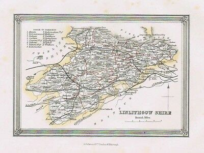 LINLITHGOWSHIRE Showing Parishes - Antique Coloured Map c1875 by Fullarton