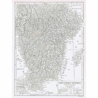 SWEDEN (Southern Part) Antique Map 1926 by Emery Walker