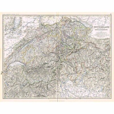 SWITZERLAND Alps of Savoy & Piedmont - Large Antique Map 1878 by Keith Johnston